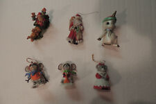 Vintage Christmas Ornaments 6 Figurine Santa Claus Resin.plastic, ceramic.