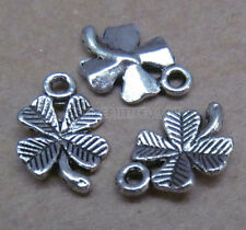 25pc Tibetan Silver Four Leaf Clover Pendant Charms Beads Wholesale    GP120