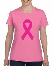 Pink Ribbon Ladies T-Shirt, Breast Cancer Awareness Pink Ribbon Adults Tee Top