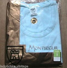 French Montsegur 1960s Men Blue Cotton Underwear T-Shirt~ Made In France ~New~ S