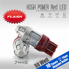 2X 7443 Red Flash Strobe Blinking Alert Safety Brake Tail Stop Light Bulbs
