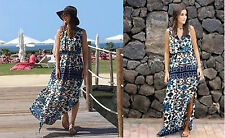 ZARA Ecru/Green/Blue/Brown Ethnic Print Soft Fabric Side Slits Maxi Dress M