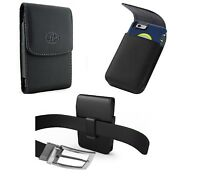XL Vertical Leather Belt Clip Pouch Holster For iPhone Samsung ZTE Motorola HTC