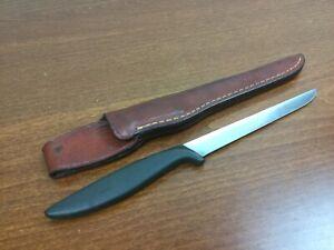"Gerber Muskie Fisherman stainless steel 6"" filet knife w/ Brown leather sheath"