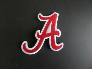 ALABAMA CRIMSON TIDE NCAA RED & WHITE Embroidered 3 x 3-1/2 Iron  On Patch