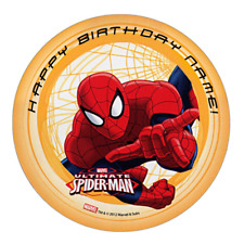 Spiderman Personalised Edible Kids Party Cake Decoration Topper Round Image
