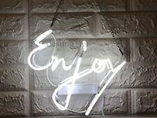 "New Enjoy Neon Light Sign 14"" Lamp Beer Bar Acrylic Real Glass Handmade"