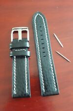 New High Quality Men's Thick Leather Black Watchstrap 20 mm