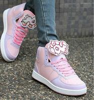 Chic New Women Cute Animal Decor Kawaii Lolita Lace Up Trainers Running Sneakers