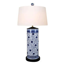 """Chinese Blue and White Porcelain Round Vase Floral Vine Table Lamp 32"""""""