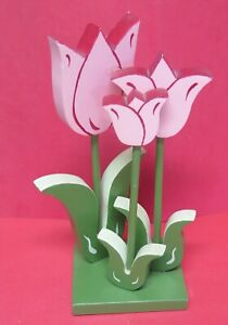 Vintage Hand Painted Wooden Tulips-Estate Sale