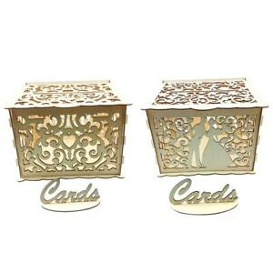 DIY Wooden Hollowed Wedding Cards Storage Box Gift Container Party Supplies