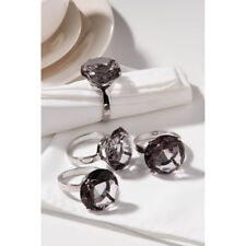 Napkin Rings Set of 4 Grey Diamante Chrome Kitchen Party Dinner Table Décor
