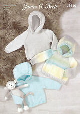 James Brett Double Knit Knitting Pattern Plain or Textured Hoodie Baby DK JB610