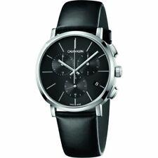 Calvin Klein Men's Posh K8Q371C1 42mm Black Dial Leather Chronograph Watch