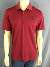 Adidas Golf Polo Mens Medium Maroon Red Pga National Logo Palm Beach Black Trim