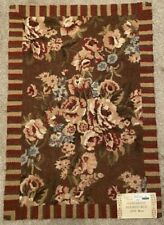 C&F Wool Hooked Rug Antique Floral Earth tones Striped Border 2' x 3' Brand New