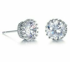 2.00 CT Princess Stud Earrings 6mm 18K White Gold with Swarovski Crystal ITALY