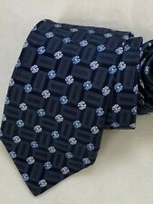 Men's Ermenegildo Zegna Floral Blue Silk Neck Tie made in Italy