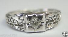 Antique Art Deco Diamond Engagement 18K White Gold Ring Size 5.75 UK-L  EGL USA
