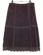 TOPSHOP skirt size 10 chocolate brown suede A-line below the knee crochet trim