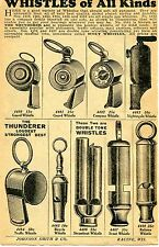 1929 small Print Ad of Whistles of All Kinds steamboat guard scout bicycle guard