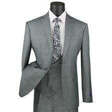 VINCI Men's Gray Glen Plaid Check 3pc 2 Button Slim Fit Suit w/ Fancy Vest NEW