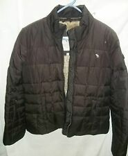 Juniors ABERCROMBIE FITCH Brown Puffer Faux Fur Winter Jacket Coat Size  Medium