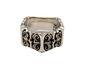925 Sterling Silver Ring Leur De Lis Cross Jewelry Chrome Hearts Style Size 10.5