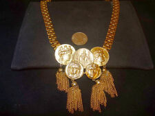 Rare Massive Chunky Signed PAULINE RADER HUGE Queen Coin necklace Bookchain
