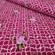 FQ Dark Pink Lattice Roses Fenton House 100% Cotton Fabric Large Fat Quarter