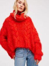 FREE PEOPLE Isle Of Sky Wool Fuzzy Chunky Turtleneck Sweater Red Medium M $228