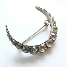 Antique Edwardian 950 Silver Diamond Paste Crescent Moon Brooch