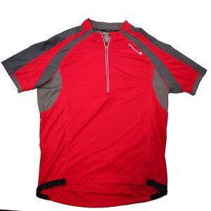 Endura Red Mens 1/4 zip XXL Bicycling Riding  Jersey with zippered key pocket