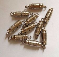 10 x Vintage Nickel Plated Barrel Screw Clasps - approx 18 x 4 mm