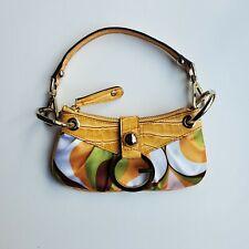 G By Guess Mini Bag Fabric Faux Reptile Trim Detachable Strap Yellow Clutch