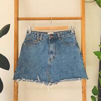 Insight Denim Womens Sasha A-Line Mini Blue Denim Loose Hem Skirt Size 8
