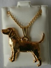 Beagle Dog 24K Gold Plated Pewter Pendant Chain Necklace Set