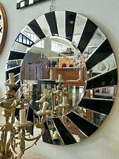 Specchiera moderna specchio design rotondo 96x96 cm da parete vetri neri cod.48