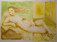 Original Acuarela #nude Mujer Reclinable