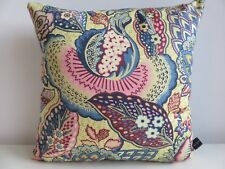 Liberty Patricia Cotton Pink Tansy Floral & Blue Velvet Fabric Cushion Cover