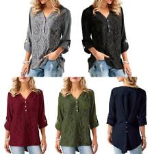 Women Casual Long Sleeve Lace Shirts Loose Blouses T Shirt Tops Plus Size A3P4