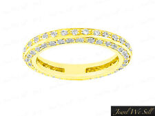 1.00Ct Diamond Eternity Wedding Band Ring w/ Accents 14k Yellow Gold GH I1 Prong