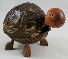 Turtle Coconut Shell Handcraft Wood Diy Toy Animal Brown Head Movement Cute Kid