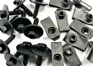 Bolts & U-nut Clips- M6-1.0 x 25mm Long- 10mm Hex- 80 pcs (40ea)- J#147E