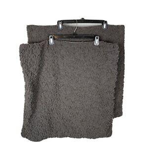 West Elm Pillow Cover Sham Set of 2 Gray Nubby Chenille 24x24 Button Close