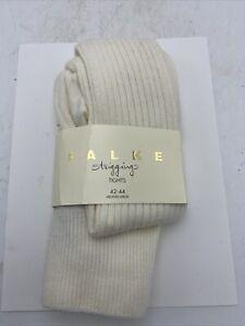 German FALKE Strigging Tights Cotton Blend Womens Ivory Med/LG Over the Knee