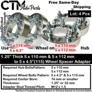 "4x 1.25"" THICK 5x110 & 5x112 TO 5x4.5(5x115) WHEEL ADAPTER FIT CHEVY SATURN&MORE"