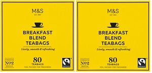 160 M&S Marks and Spencer Breakfast Blend Teabags (2 x 80) No 2 - FREE POSTAGE