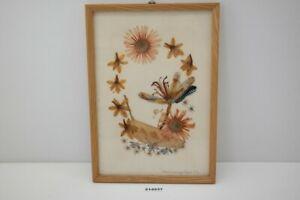 alt DDR Wandbild Gräßer getrocknet HV Hemmerling Vogel Collagen Blüten #214937